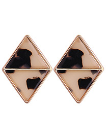 Fashion Beige+black Triangle Shape Decorated Earrings