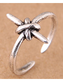 Vintage Antique Silver Cross Shape Decorated Opening Ring