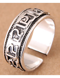Vintage Antique Silver Letter Pattern Decorated Opening Ring