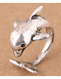 Vintage Antique Silver Dolphin Shape Design Opening Ring