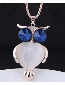 Fashion Rose Gold+blue Owl Pendant Decorated Long Necklace