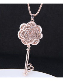 Fashion Rose Gold Hollow Out Rose Decorated Necklace