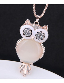Fashion Rose Gold Owl Pendant Decorated Long Necklace