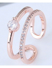 Fashion Rose Gold Hollow Out Shape Design Opening Ring