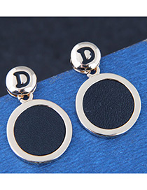Fashion Black Letter Decorated Round Earrings