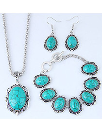 Fashion Green Oval Shape Decorated Necklace