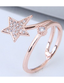Fashion Rose Gold Star Shape Decorated Ring