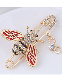 Fashion Red Bee Shape Decorated Brooch