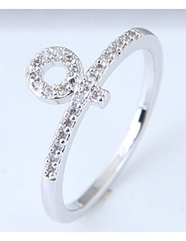 Fashion Silver Color Circular Ring Shape Decorated Ring