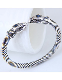 Fashion Silver Color Snake Shape Design Pure Color Bracelet