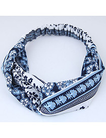 Sweet White+blue Flowers Pattern Decorated Wide Hair Band