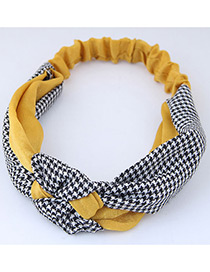 Sweet Yellow+black Grid Pattern Decorated Wide Hair Band