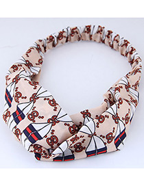 Sweet Pink+white Plato Pattern Decorated Wide Hair Band