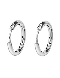 Fashion Silver Color Round Shape Decorated Earrings(10mm)