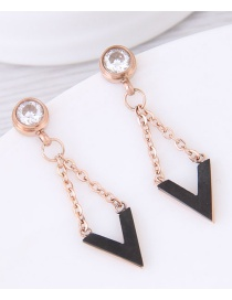 Fashion Black Diamond Decorated Earrings