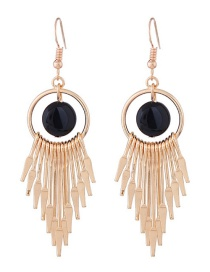 Fashion Gold Color+black Tassel Decorated Earrings