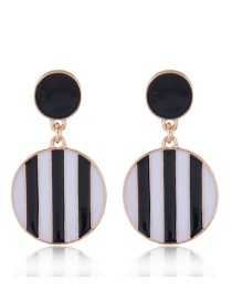 Fashion Black+white Stripe Pattern Decorated Earrings