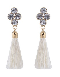 Elegant Beige Diamond Decorated Long Tassel Earrings