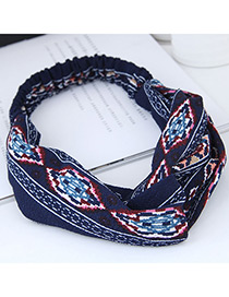 Sweet Navy Geometric Shape Pattern Decorated Hair Band