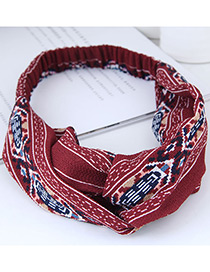 Fashion Pink Knitted Cross Solid Color Wide Elastic Headband