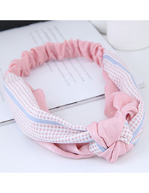 Sweet Pink Grid Pattern Decorated Wide Hair Band
