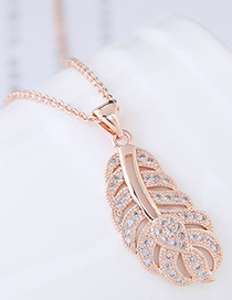 Elegant Rose Gold Hollow Out Leaf Pendant Decorated Necklace