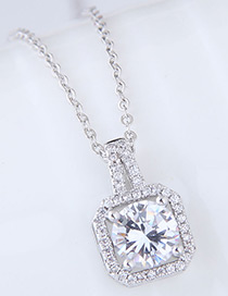 Elegant Silver Color Square Shape Diamond Decorated Necklace