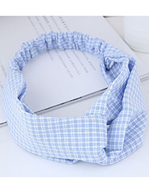 Fashion Light Blue Grid Pattern Decorated Simple Hairband