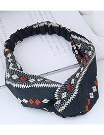 Fashion Navy Rhombus Pattern Decorated Hairband