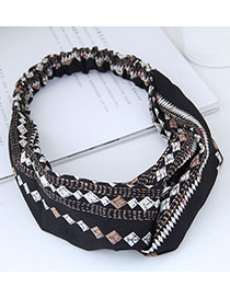 Fashion Black Rhombus Pattern Decorated Hairband