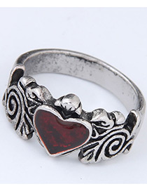 Vintage Silver Color +red Heart Shape Decorated Ring