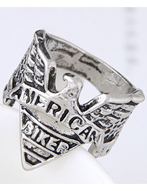 Vintage Silver Color Letter Pattern Decorated Ring