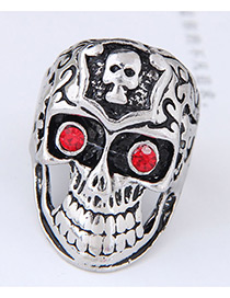 Vintage Silver Color+red Skull Shape Decorated Ring
