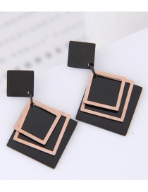 Fashion Rose Gold+black Square Shape Decorated Earrings
