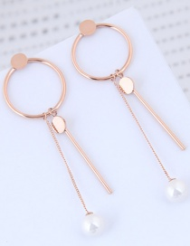 Fashion Rose Gold Round Shape Decorated Tassel Earrings