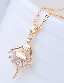 Elegant Gold Color Ballerina Girl Pendant Decorated Necklace