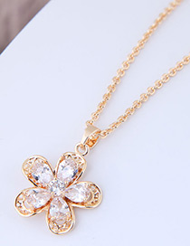 Elegant Gold Color Flower Pendant Decorated Necklace