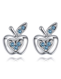 Fashion Blue Apple Shape Decorated Earrings
