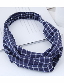 Fashion Navy Grid Pattern Decorated Headband