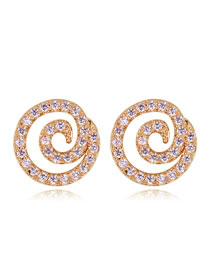 Fashion Champagne Vortex Shape Decorated Simple Earrings