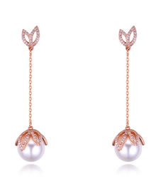 Fashion Rose Gold Pearls&diamond Decorated Long Earrings