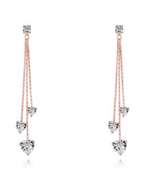 Fashion Rose Gold Heart Shape Decorated Long Earrings