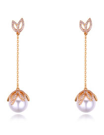 Fashion Champagne Pearls&diamond Decorated Long Earrings