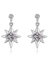 Fashion White Star Shape Decorated Pure Color Earrings