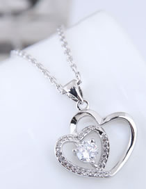 Fashion Silver Color Heart Shape Pendant Decorated Necklace