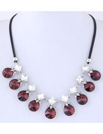 Fashion Claret Red Round Shape Decorated Necklace
