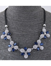 Fashion Blue Flower Shape Design Necklace