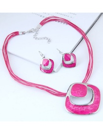 Fashion Plum Red Hollow Out Design Jewelry Sets