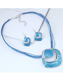 Fashion Blue Hollow Out Design Jewelry Sets
