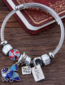 Fashion Silver Color+blue Goldfish Shape Decorated Bracelet